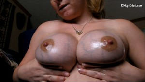 Rubbing Oil on My Huge F Cup Titties Video