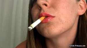 Glossy Pink Lips Upclose Cigarette Smoking